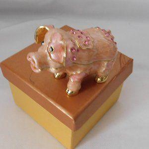 Jeweled Pink Enamel Pig Trinket Box New